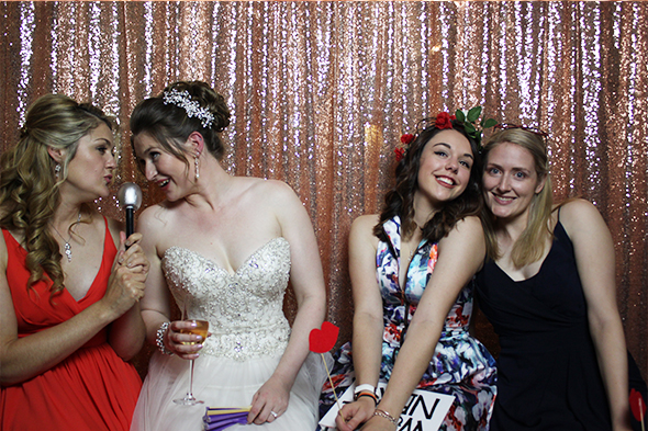 Open Photo Booth with Rose Gold Backdrop