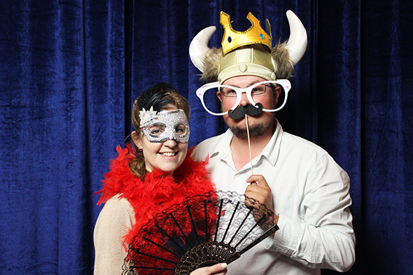 Open Photo Booth with Royal Blue Backdrop