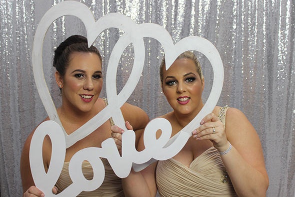 Open Photo Booth with Silver Glitter Backdrop