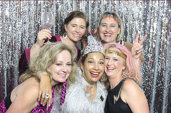 Open Photo Booth with Sparkly Silver Backdrop