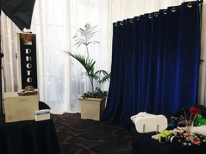 Open Photo Booth Service with over 20 backdrop choices