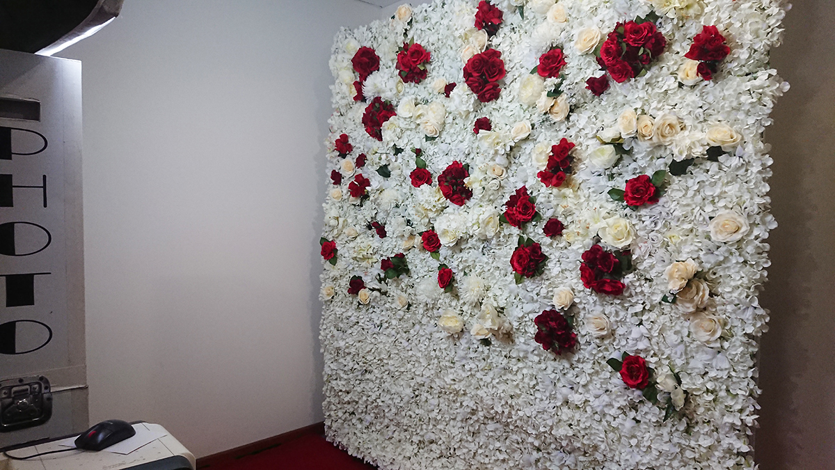 White and Red Flower Wall Photo Booth Perth