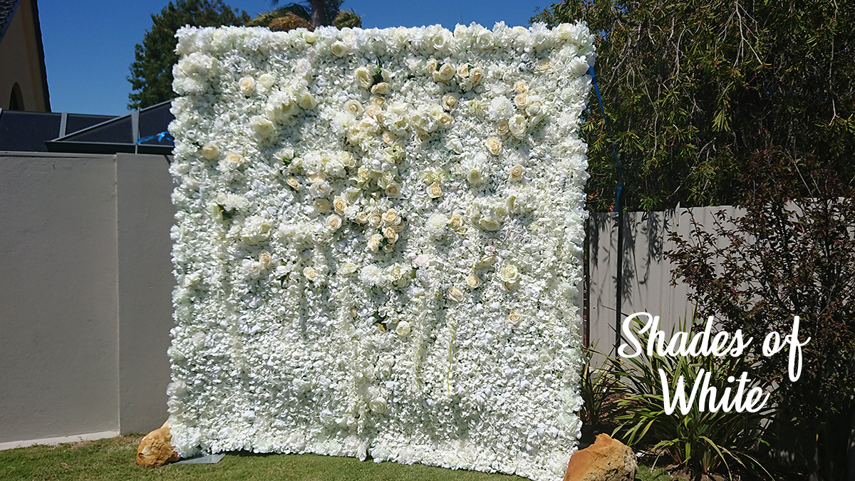 Shades of White Flower Wall Photo Booth Perh
