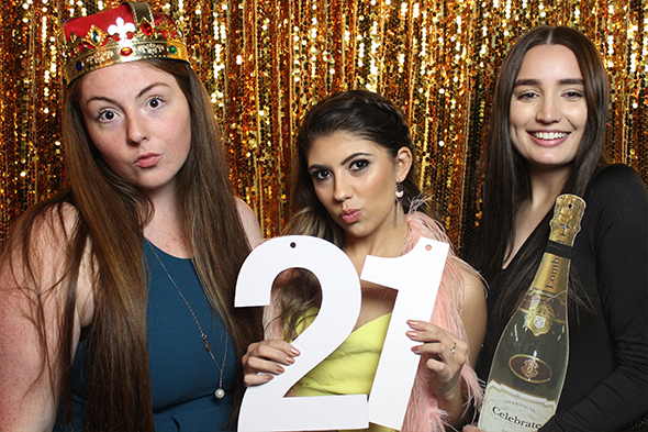 Open Photo Booth with Gold Sequin Backdrop