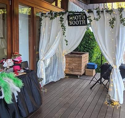 Warm White LED Enclosed Photo Booth with Greenery