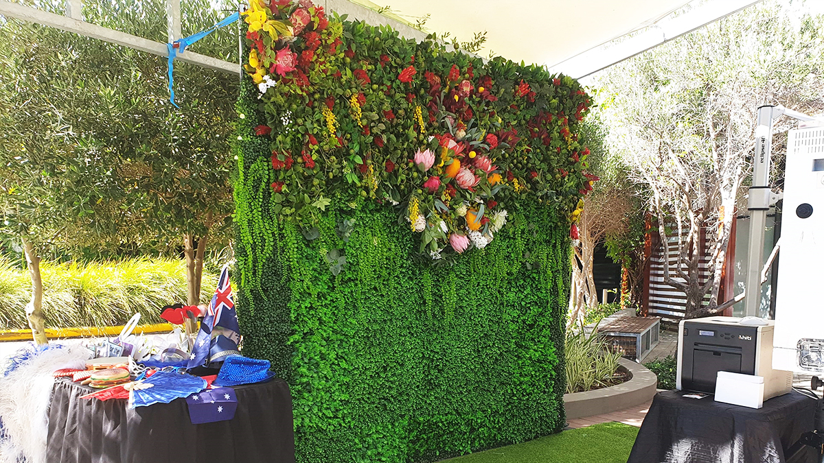 Australian Themed Flower Wall at the Mezz